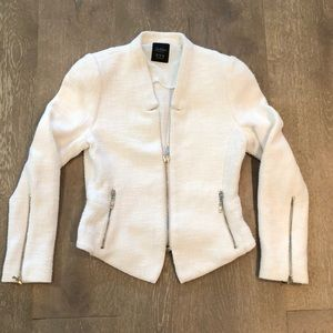 Zara Trafaluc white tweed blazer